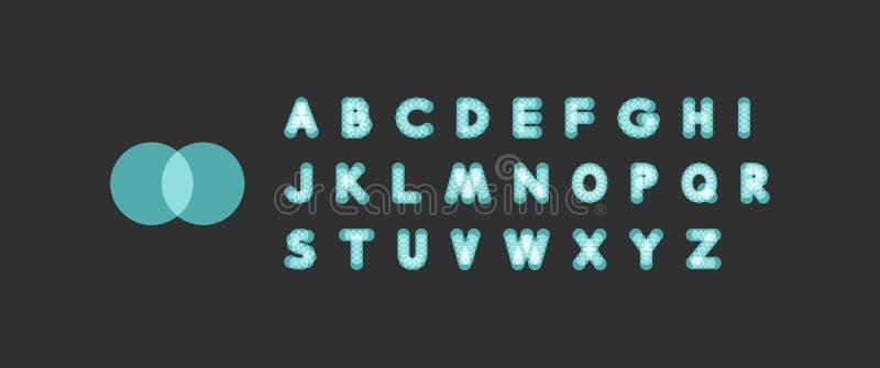 Алфавит неонового света поставленный точки шрифт Абстрактная предпосылка вектора с знаками письма иллюстрация вектора
