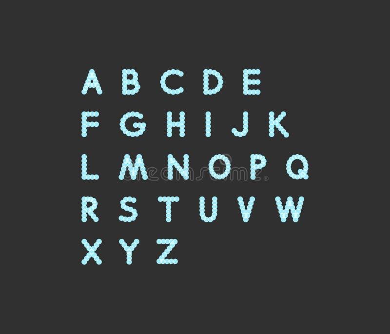 Алфавит неонового света поставленный точки шрифт Абстрактная предпосылка вектора с знаками письма бесплатная иллюстрация