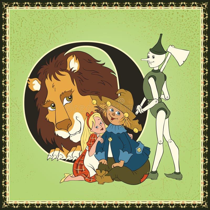 Алфавит сказки шаржа книги детей письмо o Чудесный Волшебник страны Оз Lyman Франком Baum иллюстрация штока
