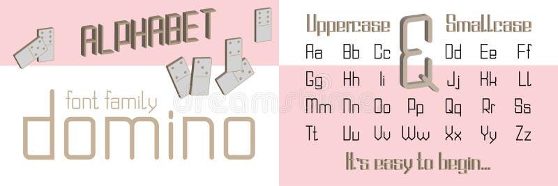 Алфавит стиля домино декоративный, пальмира Шрифт для печати лозунга графической, мода искусства шипучки битника, геометрическая  иллюстрация вектора