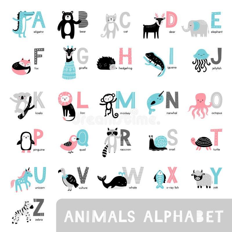 Алфавит с милыми животными мультфильма Медведь, дорогой, лиса, слон, обезьяна, енот в нарисованном вручную стиле иллюстрация вектора