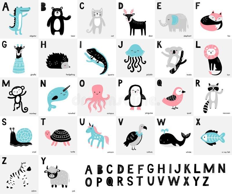 Алфавит с милыми нарисованными вручную животными Аллигатор, медведь, олени, лиса, слон, обезьяна, енот, лев, обезьяна и другое му иллюстрация вектора