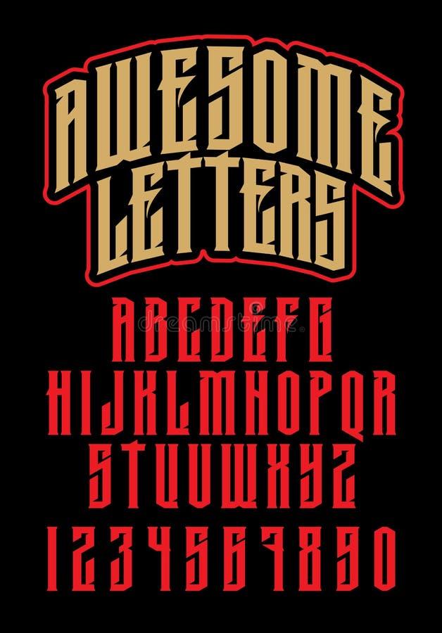 Алфавит тяжелого метала Зверский шрифт иллюстрация штока