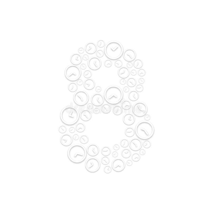 Алфавит установил письмо 8 или 8, картина тасовкой часов, иллюстрация дизайна концепции системы времени изолированная на белой пр иллюстрация штока