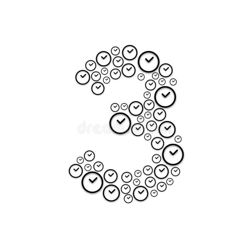 Алфавит установил письмо 3 или 3, картина часов, иллюстрация дизайна ко бесплатная иллюстрация