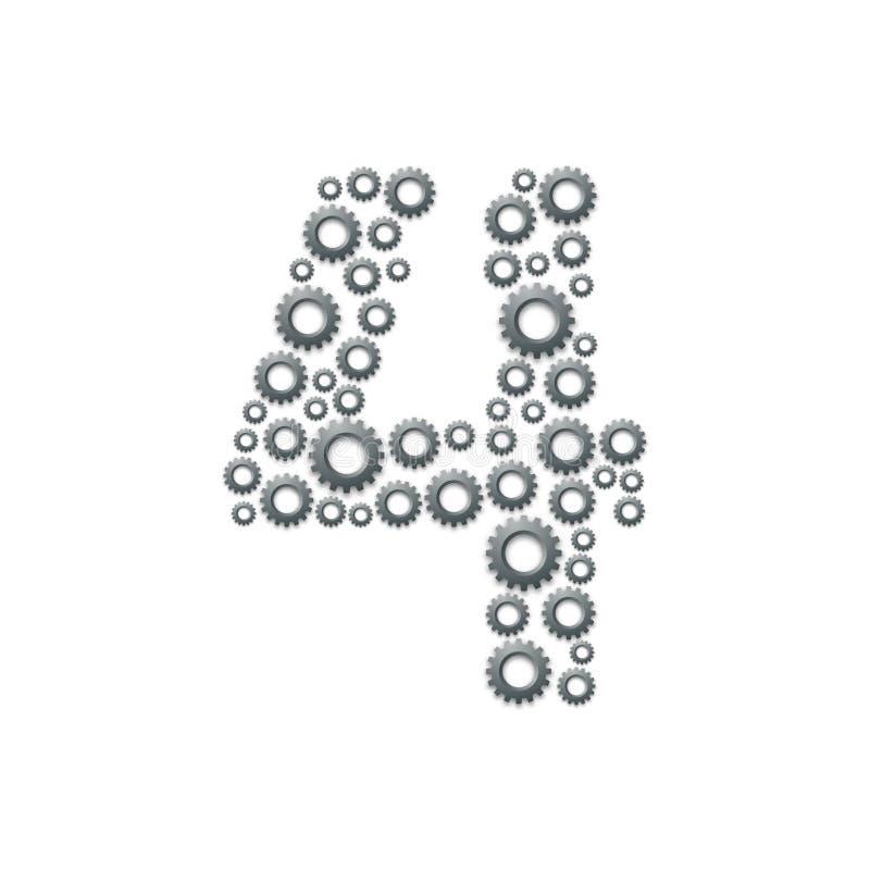 Алфавит установил письмо 4 или 4, проектирующ картину шестерни, иллюстрация дизайна концепции системы сыгранности изолированная н иллюстрация вектора