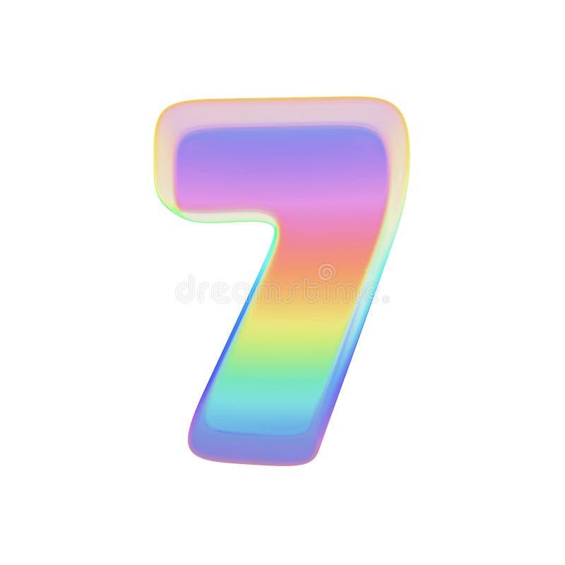 Алфавит 7 Шрифт радуги сделанный яркого пузыря мыла 3d представляют изолировано на белой предпосылке иллюстрация штока