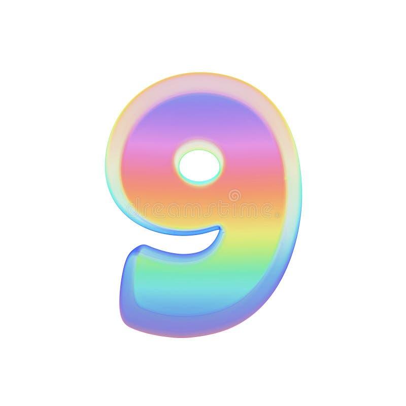 Алфавит 9 Шрифт радуги сделанный яркого пузыря мыла 3d представляют изолировано на белой предпосылке иллюстрация штока