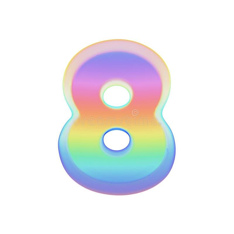 Алфавит 8 Шрифт радуги сделанный яркого пузыря мыла 3d представляют изолировано на белой предпосылке иллюстрация штока