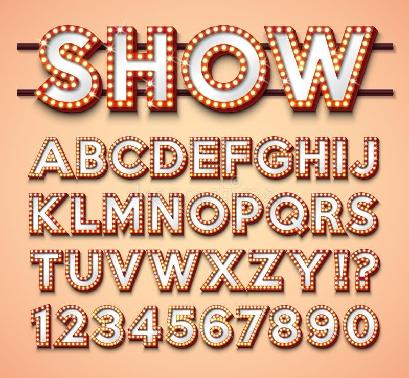 Алфавит электрической лампочки с яркими красными рамкой и тенью на красном backgrond Накаляя ретро собрание шрифта вектора с сияю бесплатная иллюстрация
