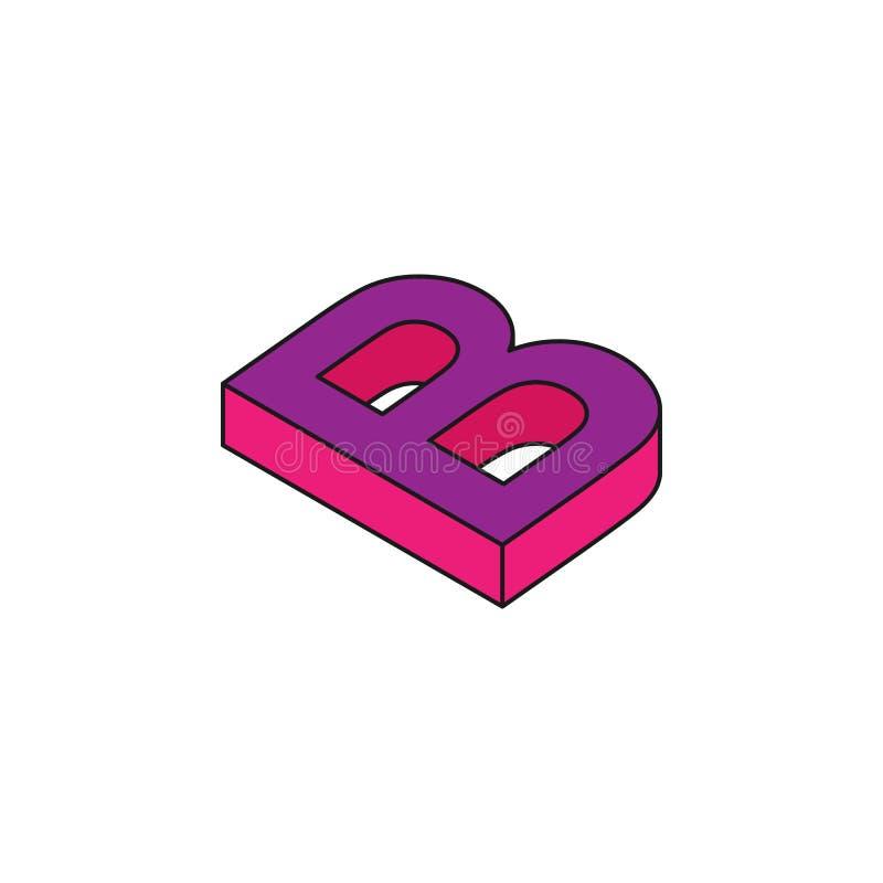 алфавит b, 3D покрасил равновеликий значок Элемент слов 3d и значка символов для мобильных приложений концепции и сети Равновелик бесплатная иллюстрация