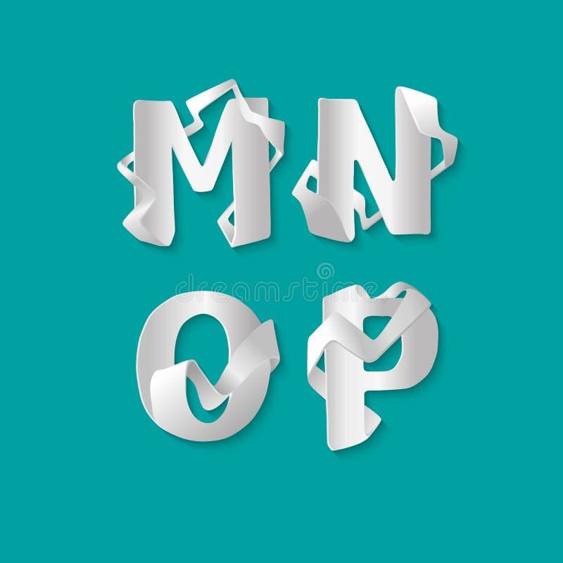 Алфавит 3d вектора декоративный изолировал комплект uppercase писем Белое элегантное письмо m, n, o, p Шрифт блокировать бесплатная иллюстрация