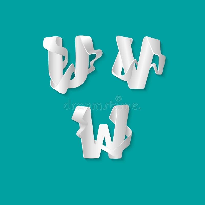 Алфавит 3d вектора декоративный изолировал комплект uppercase писем Белое элегантное письмо u, v, w Шрифт блокировать иллюстрация штока