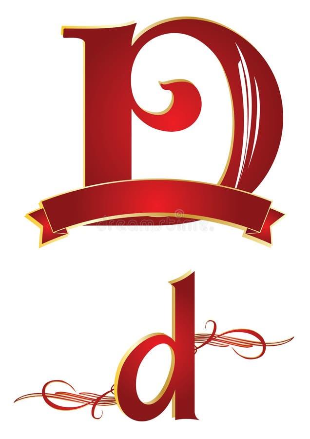 алфавит d иллюстрация вектора