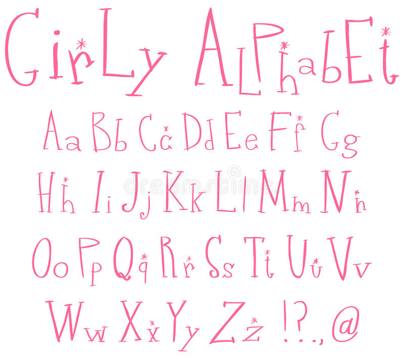алфавит Girly Стоковое Изображение RF
