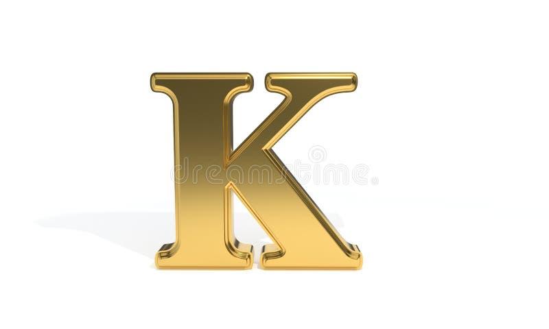Алфавит k покрашенный золотом, перевод 3d иллюстрация штока