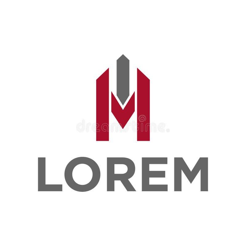 Алфавит m иллюстрации вектора и строя дизайн логотипа значка иллюстрация штока