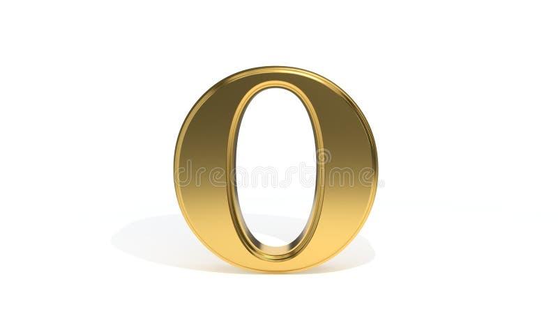 Алфавит o покрашенный золотом, перевод 3d иллюстрация штока