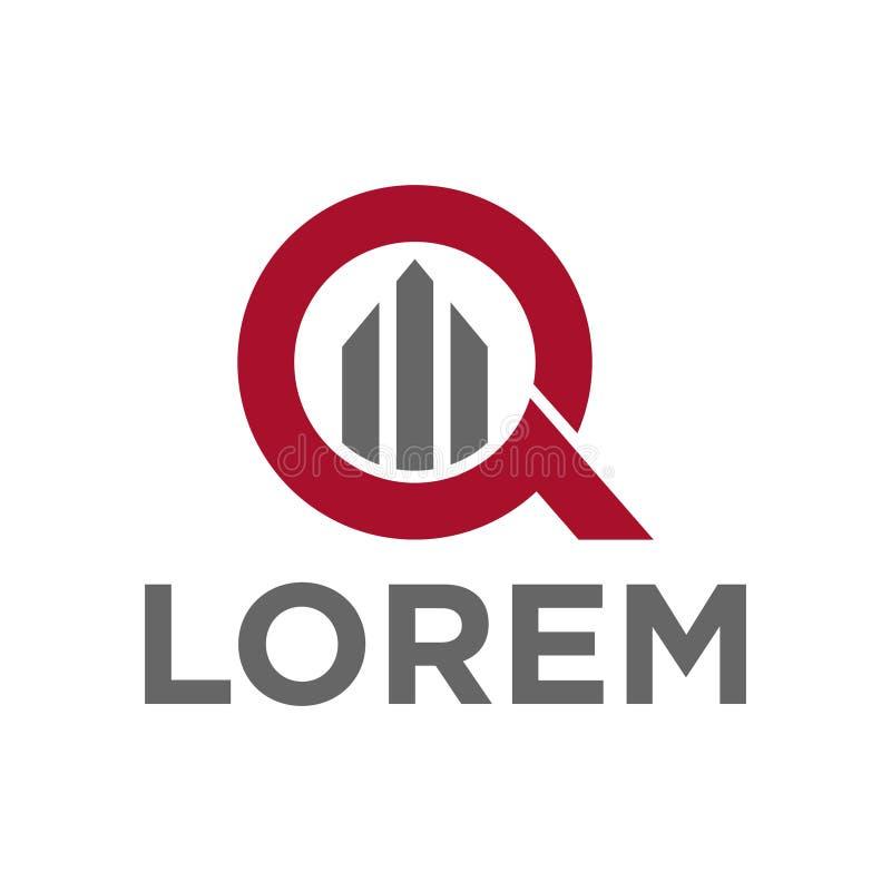 Алфавит q иллюстрации вектора и строя дизайн логотипа значка иллюстрация штока