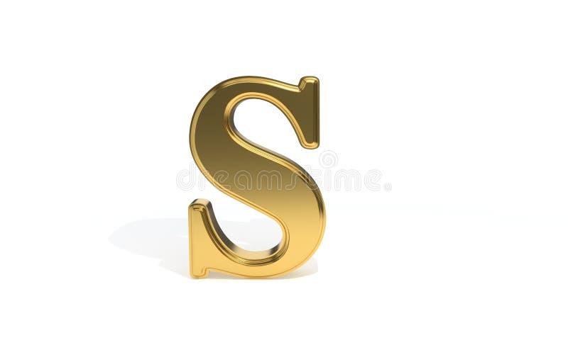 Алфавит s покрашенный золотом, перевод 3d иллюстрация штока