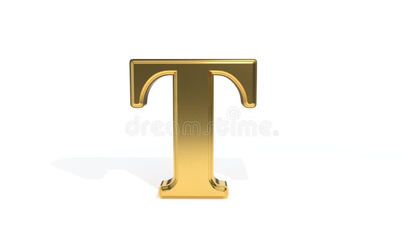 Алфавит t покрашенный золотом, перевод 3d иллюстрация вектора