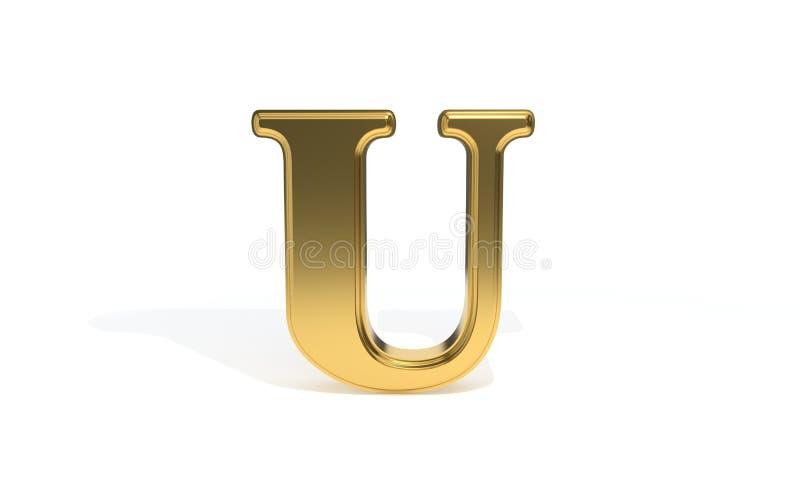 Алфавит u покрашенный золотом, перевод 3d иллюстрация вектора