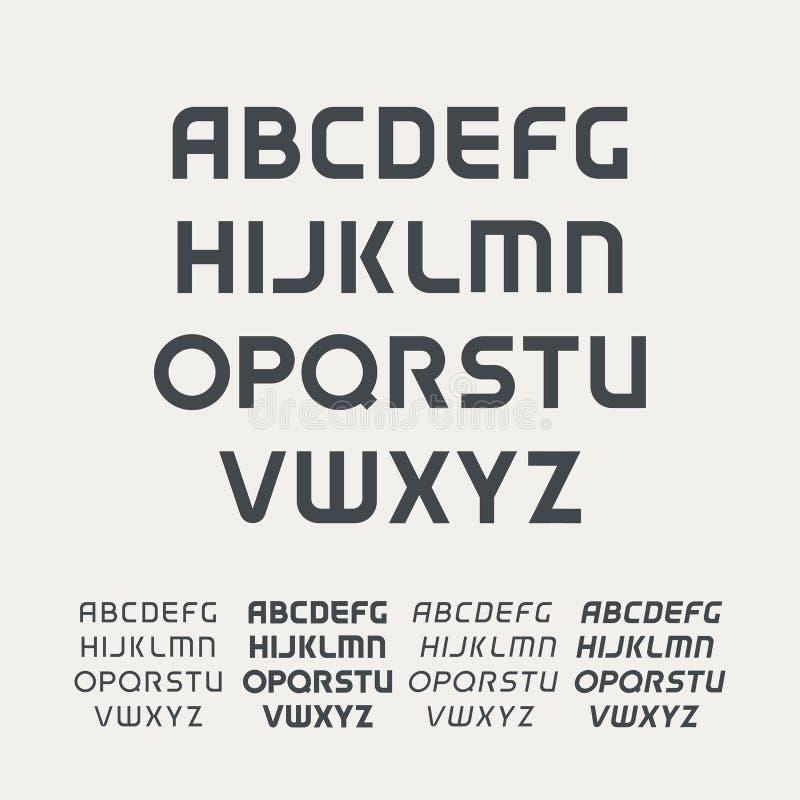 Алфавит uppercase спорта Футуристический шрифт технологии Современный шаблон вензеля Пальмира дизайна вектора Minimalistic иллюстрация вектора