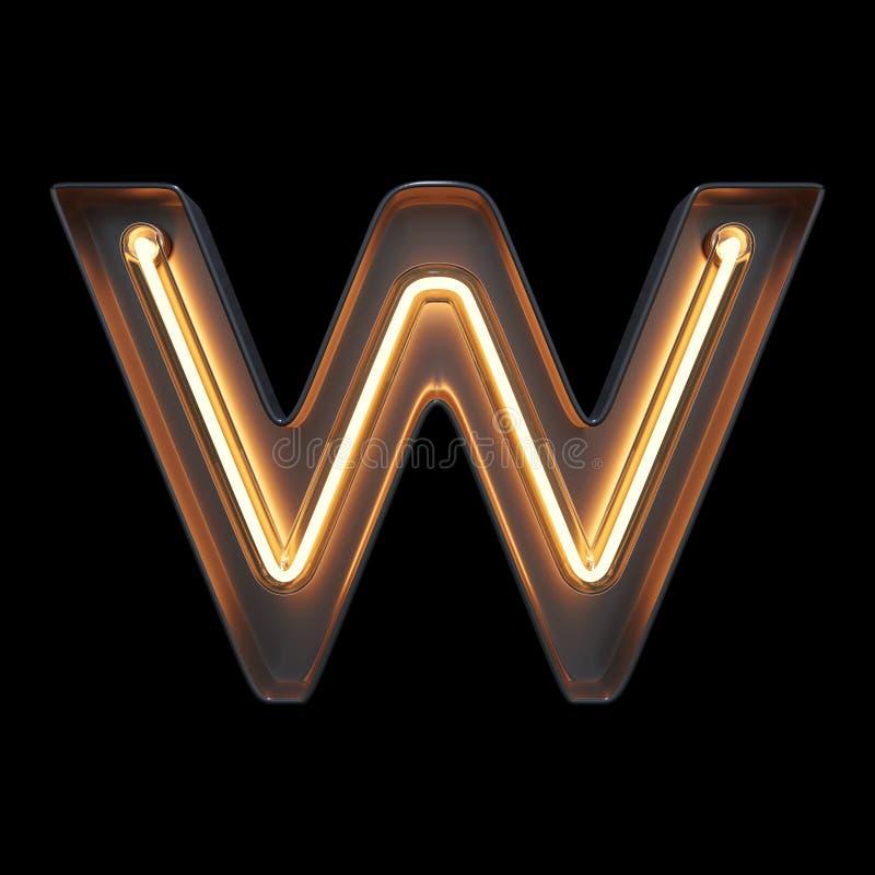 Алфавит w неонового света с путем клиппирования бесплатная иллюстрация