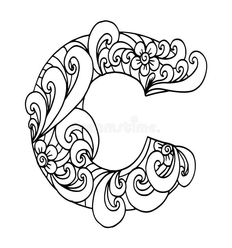 Алфавит Zentangle стилизованный Письмо c в стиле doodle Нарисованная рукой купель эскиза иллюстрация вектора