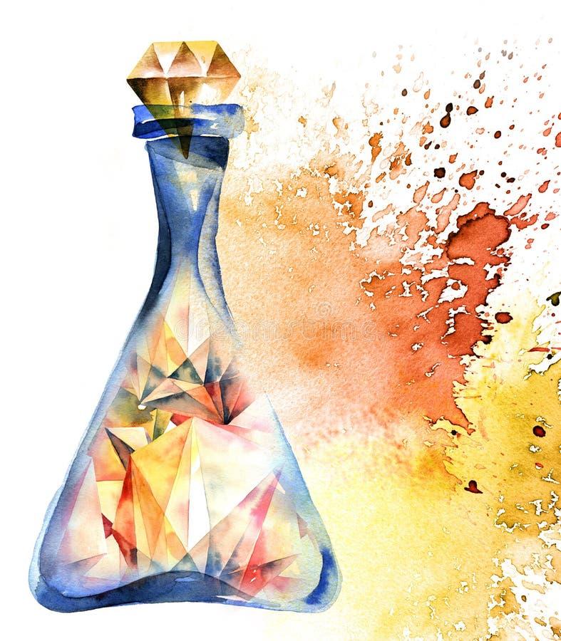 Алхимическая волшебная бутылка иллюстрация вектора