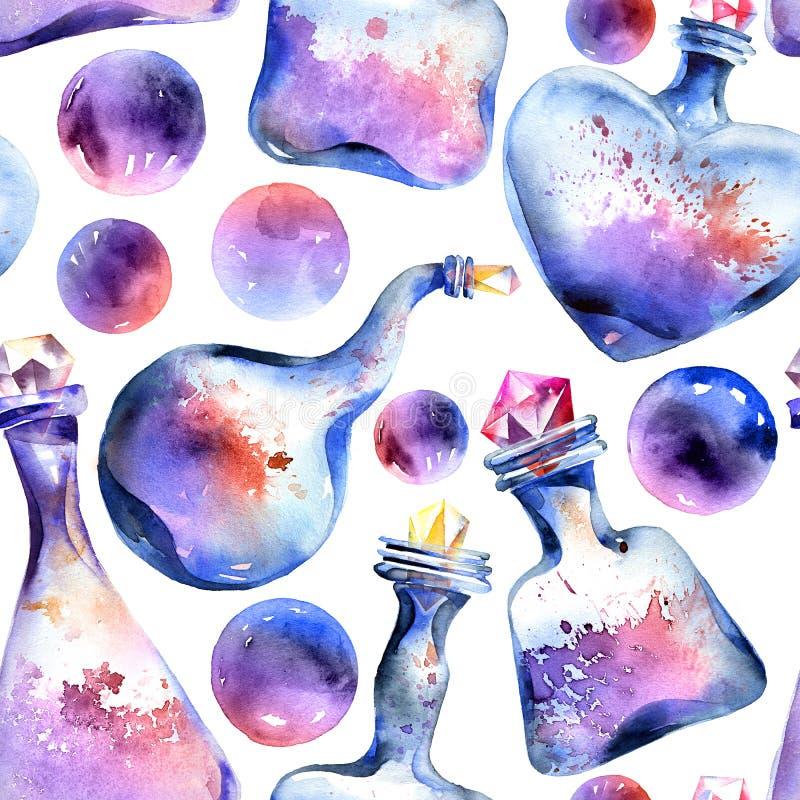 Алхимическая волшебная картина бутылки иллюстрация штока