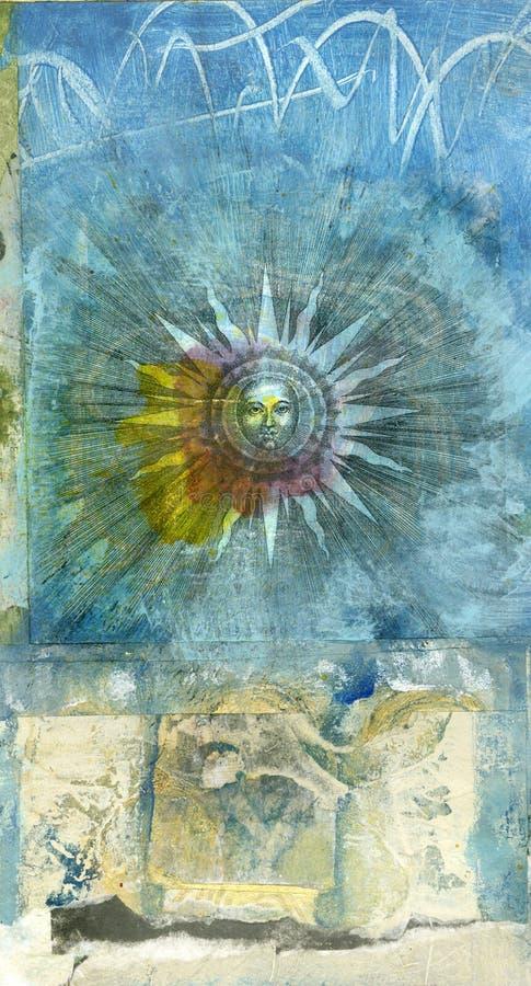 алхимическое солнце иллюстрация вектора