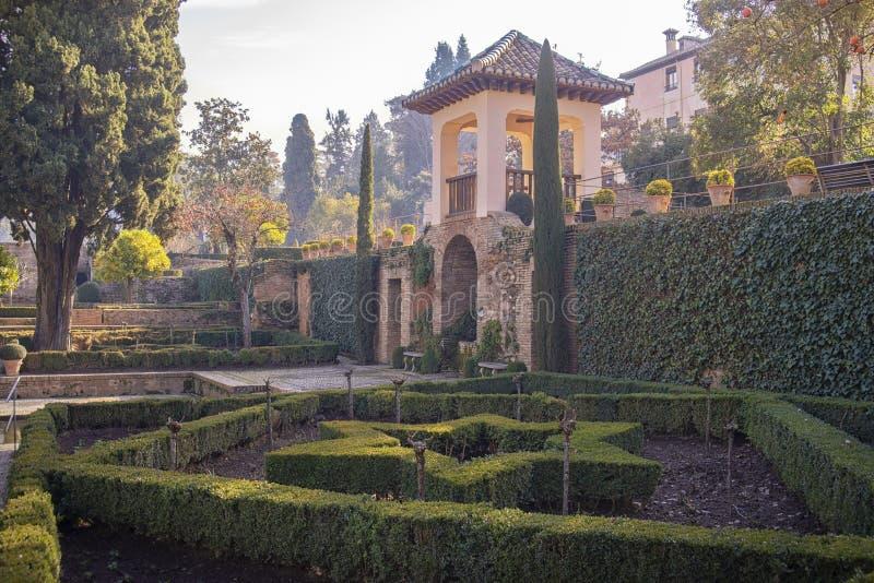 Альгамбра, дворец Nazarias садов, Гранада, Испания стоковое изображение rf