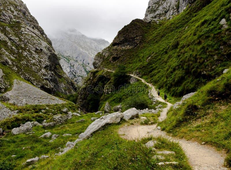 2 альпиниста Trekking на горах стоковые изображения