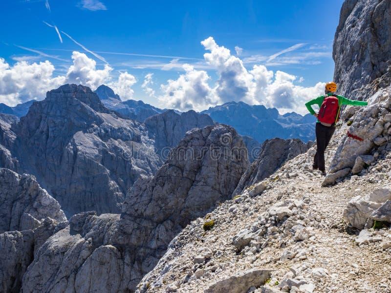 Альпинист как раз под верхней частью горы Prisojnik в Джулиан Альп наслаждаясь взглядом стоковое фото rf