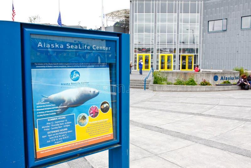 Аляска - знак центра жизни моря Seward Аляски стоковое изображение rf