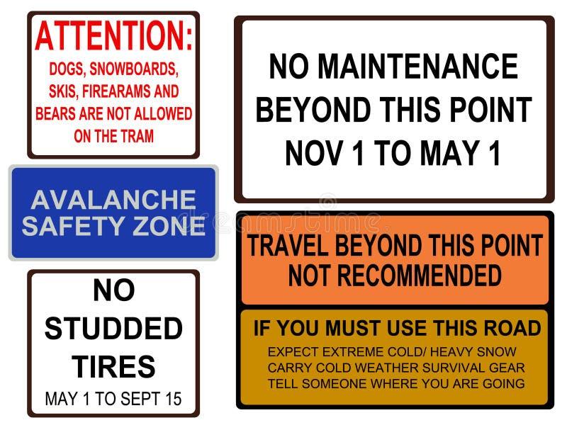 аляскские дорожные знаки иллюстрация штока