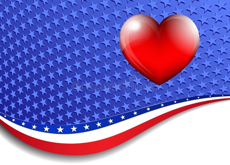 Американец, предпосылка государственный флаг сша с сердцем 3D бесплатная иллюстрация