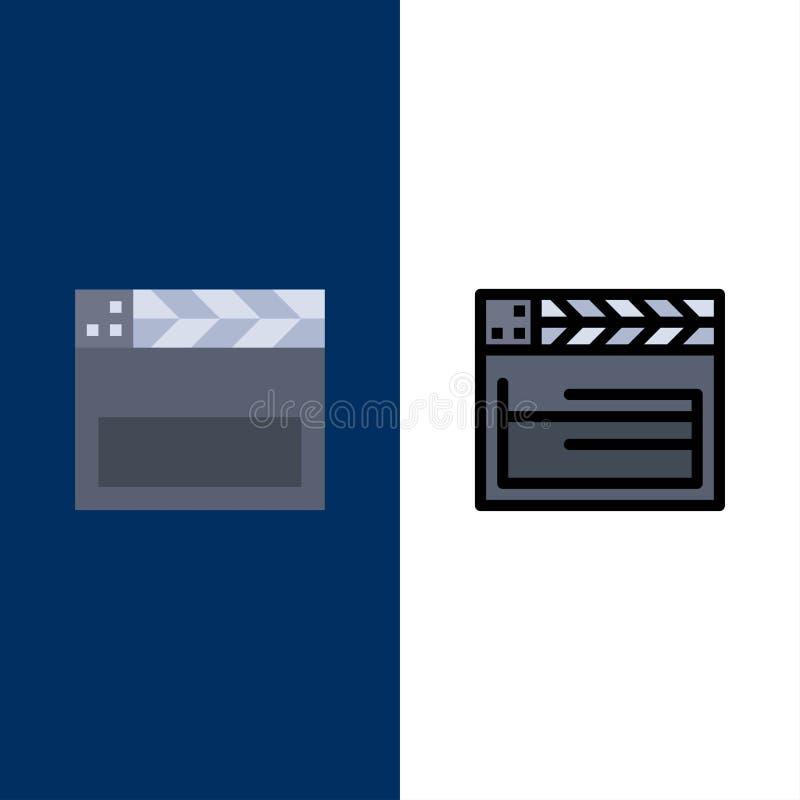 Американец, фильм, США, видео- значки Квартира и линия заполненный значок установили предпосылку вектора голубую бесплатная иллюстрация