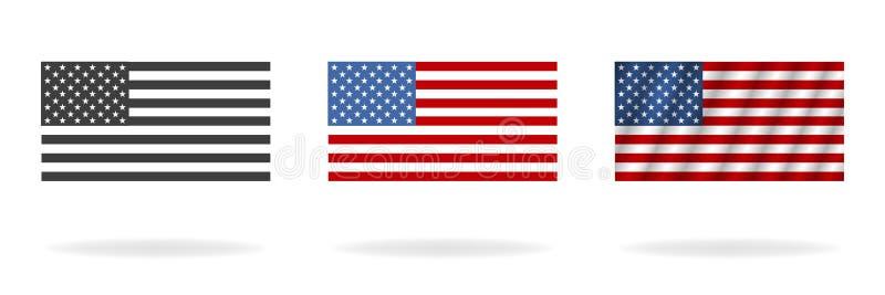 Американец флага в 3 стилях Флаги изолированные на белой предпосылке r иллюстрация штока
