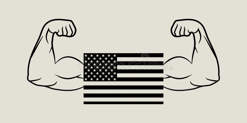 Американец флага и бицепс рук в плоском дизайне бесплатная иллюстрация