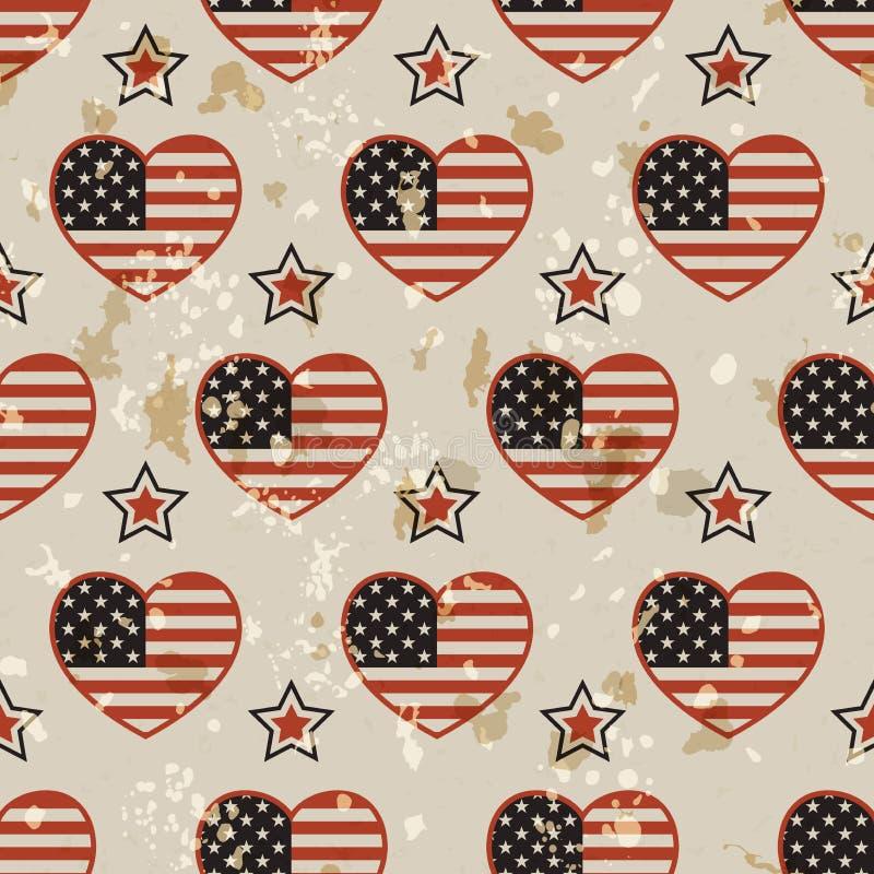 Американская винтажная безшовная картина иллюстрация вектора
