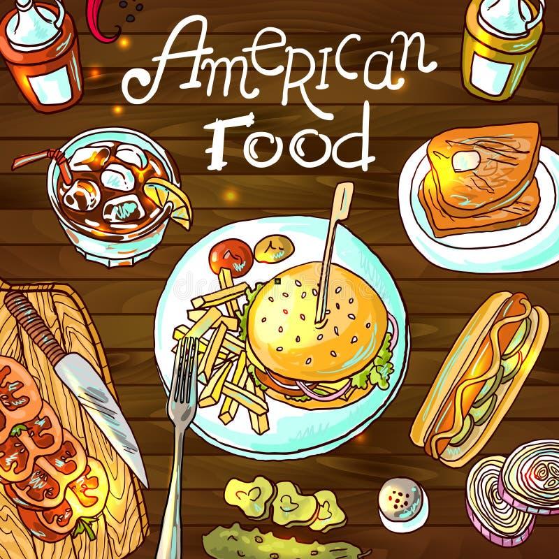 американская еда иллюстрация штока