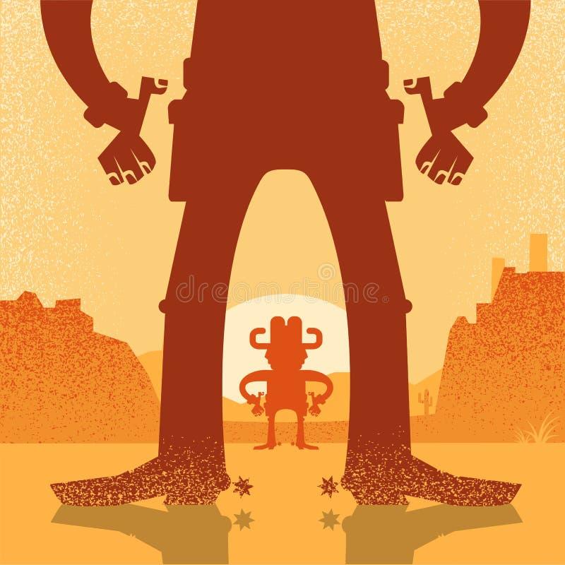 Американская западная перестрелка поединка ковбоя Иллюстрация вектора с t иллюстрация штока