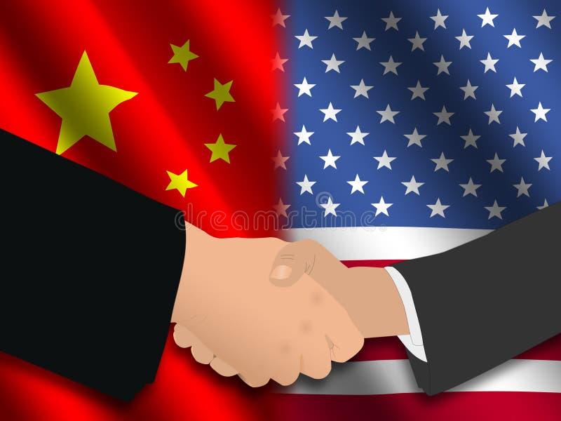 американская китайская встреча иллюстрация штока