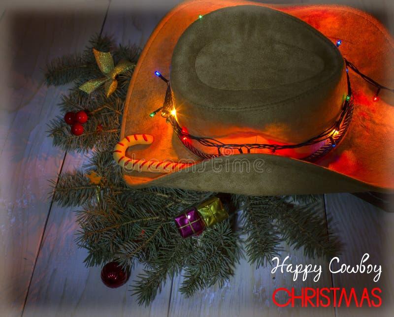 Американская ковбойская шляпа с украшением рождества иллюстрация вектора