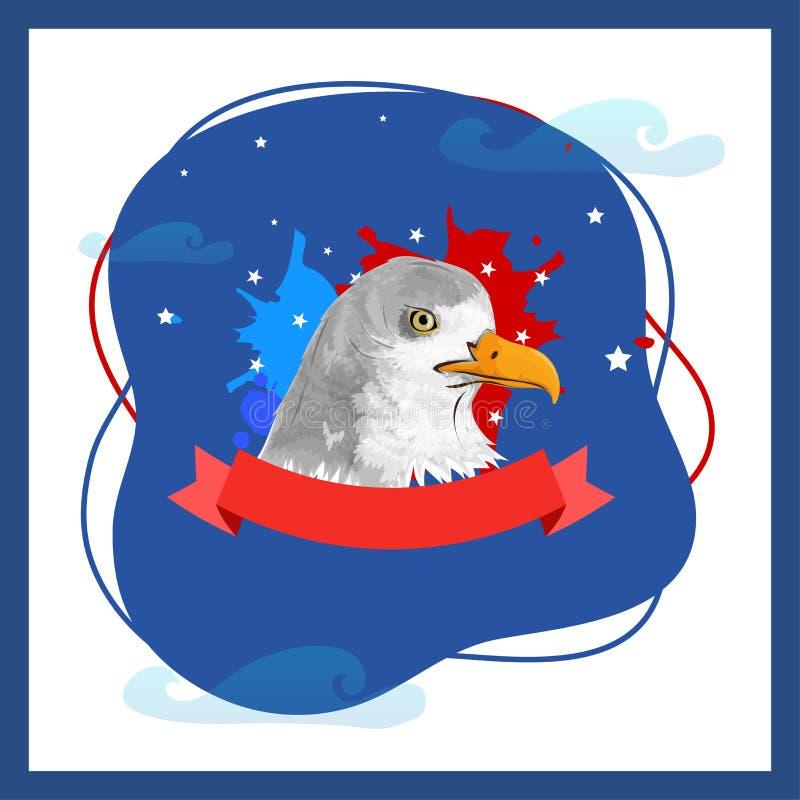 Американская концепция Дня независимости с белоголовым орланом на сини и wh иллюстрация штока