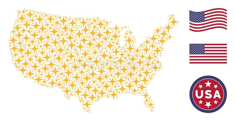 Американская мозаика карты звезды космоса бесплатная иллюстрация