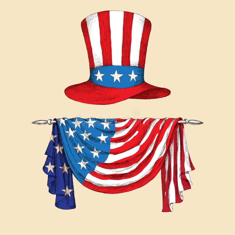 американская независимость дня Шляпа с флагом Соединенных Штатов Америки с лентой Американский символ дядюшка иллюстрация вектора