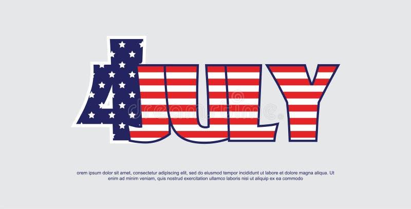Американская независимость Day-4th bnner в июле праздничная иллюстрация вектора иллюстрация штока